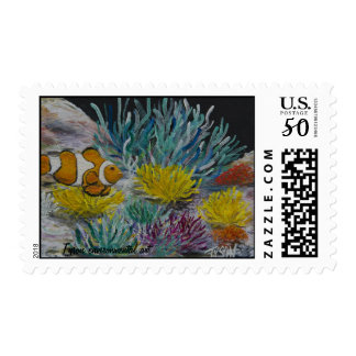 Clown fish painting on postage