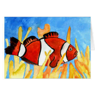 clown fish tropical aquarium sealife art card