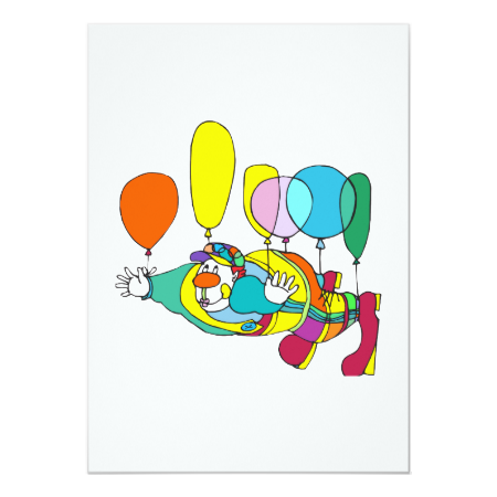 Clown flying by balloon 5x7 paper invitation card