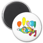 Clown flying by balloon fridge magnet