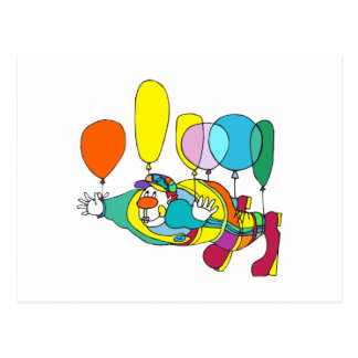 Clown flying by balloon postcards