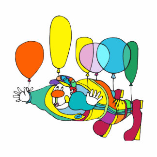 Clown flying by balloon statuette