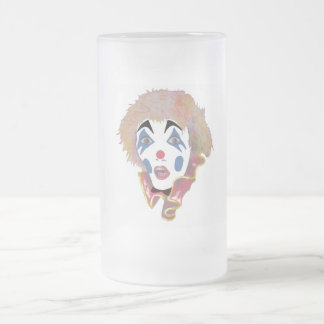CLOWN FROSTED GLASS BEER MUG
