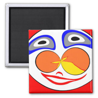 Clown funny face 2 inch square magnet