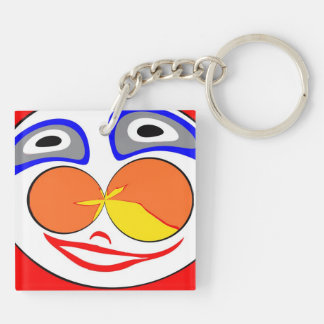 Clown funny face Double-Sided square acrylic keychain