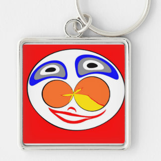 Clown funny face Silver-Colored square keychain