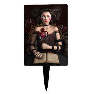 Clown girl with brown hair holding mask cake topper