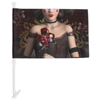 Clown girl with brown hair holding mask car flag