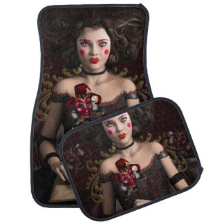 Clown girl with brown hair holding mask car mat