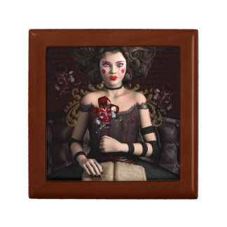 Clown girl with brown hair holding mask gift box