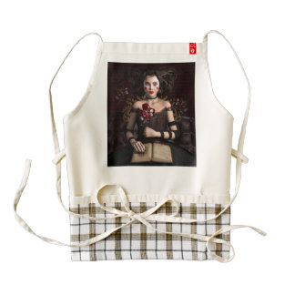 Clown girl with brown hair holding mask zazzle HEART apron