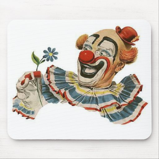 Clown Grins at Flower - Mousepad