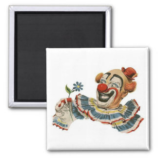 Clown Grins at Flower - Square Magnet