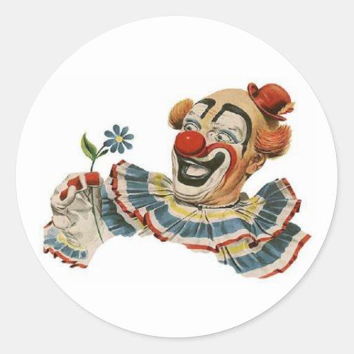 Clown Grins at Flower - Sticker