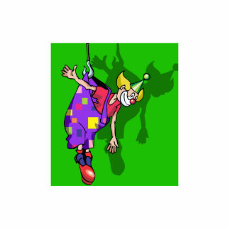 Clown hanging from pants statuette