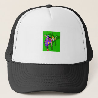 Clown hanging from pants trucker hat