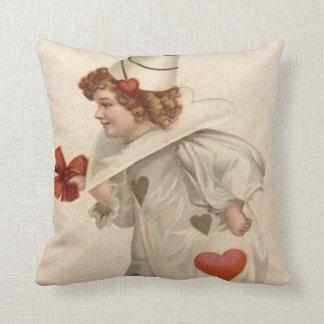 Clown Harlequin Heart Valentine Throw Pillow