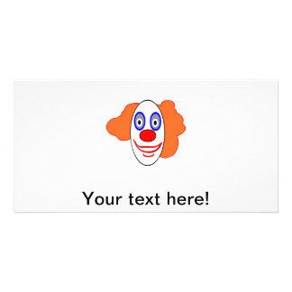 Clown head cartoon custom photo card