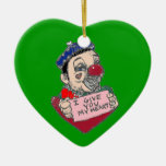 Clown Heart Christmas Ornament