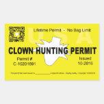 Clown Hunting Permit (4x) (Yellow) Rectangular Sticker