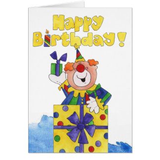Clown in a Present Greeting Cards