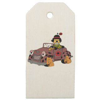 Clown in Car Wooden Gift Tags