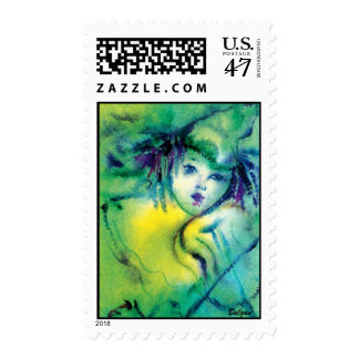 CLOWN IN GREEN STAMP