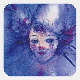 CLOWN IN PURPLE / Venetian Carnival Faces Square Sticker