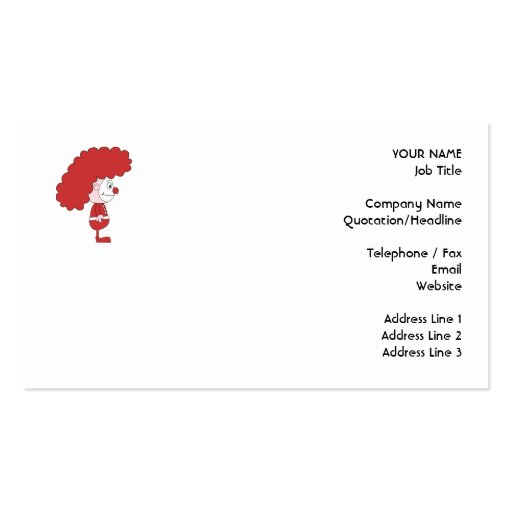 Clown in Red and White. Cartoon. Business Cards