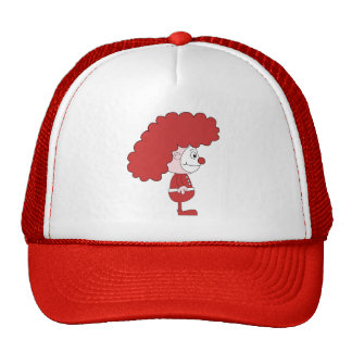Clown in Red and White. Cartoon. Trucker Hat