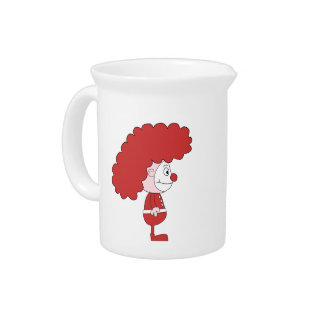 Clown in Red and White. Cartoon. Drink Pitcher