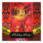 CLOWN IN RED, BLACK GOLD  DAMASK MONOGRAM ,Ruby 5.25x5.25 Square Paper Invitation Card