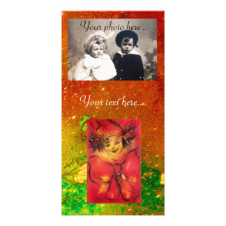 CLOWN IN RED WITH GOLD SPARKLES PHOTO CARD