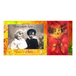 CLOWN IN RED WITH GOLD SPARKLES PHOTO GREETING CARD