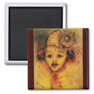 CLOWN IN YELLOW 2 INCH SQUARE MAGNET