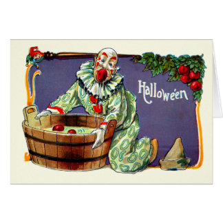 Clown Jester Bobbing For Apples Card