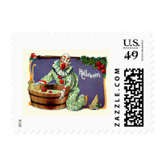 Clown Jester Bobbing For Apples Stamp