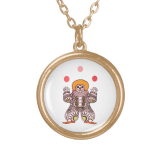Clown Juggling Gold Plated Necklace