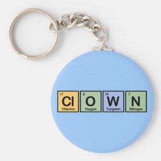 Clown made of Elements Basic Round Button Keychain