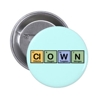 Clown made of Elements Pinback Button