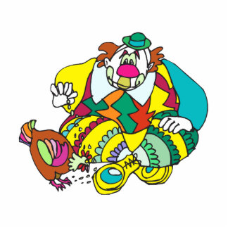 Clown & multicolor chicken cutout