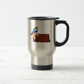 Clown on chair tightrope with umbrella travel mug