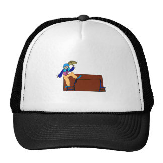 Clown on chair tightrope with umbrella trucker hat