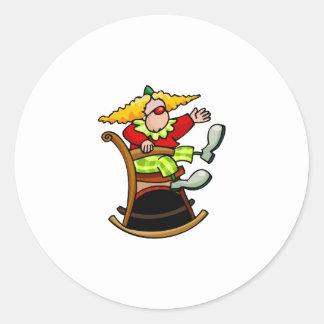 Clown on Rocking Chair Classic Round Sticker