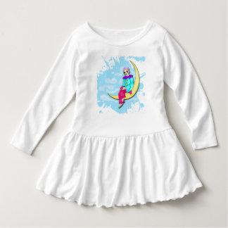Clown on the moon toddler ruffle dress. dress