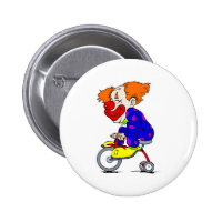 Clown on tricycle 2 inch round button