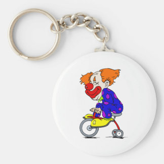 Clown on tricycle basic round button keychain