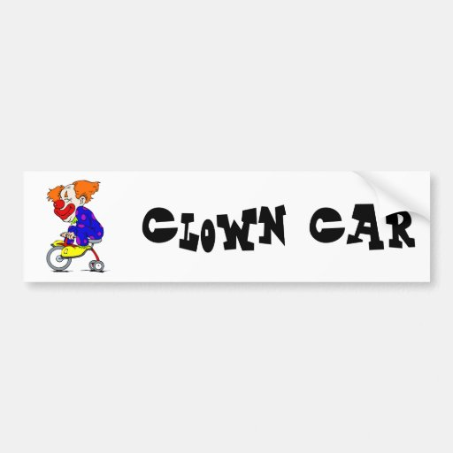 Clown on tricycle bumper sticker