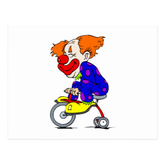 Clown on tricycle postcard