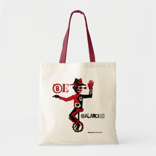 Clown on unicycle abstract graphic art cool bag